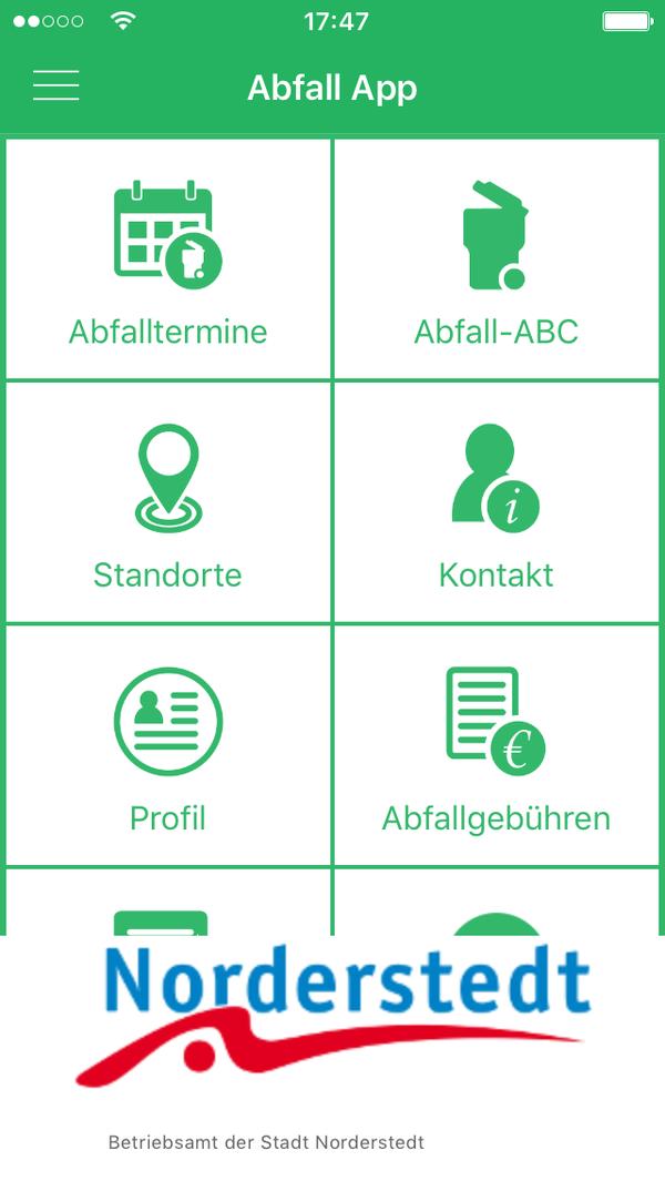 Abfall App Norderstedt uebersicht