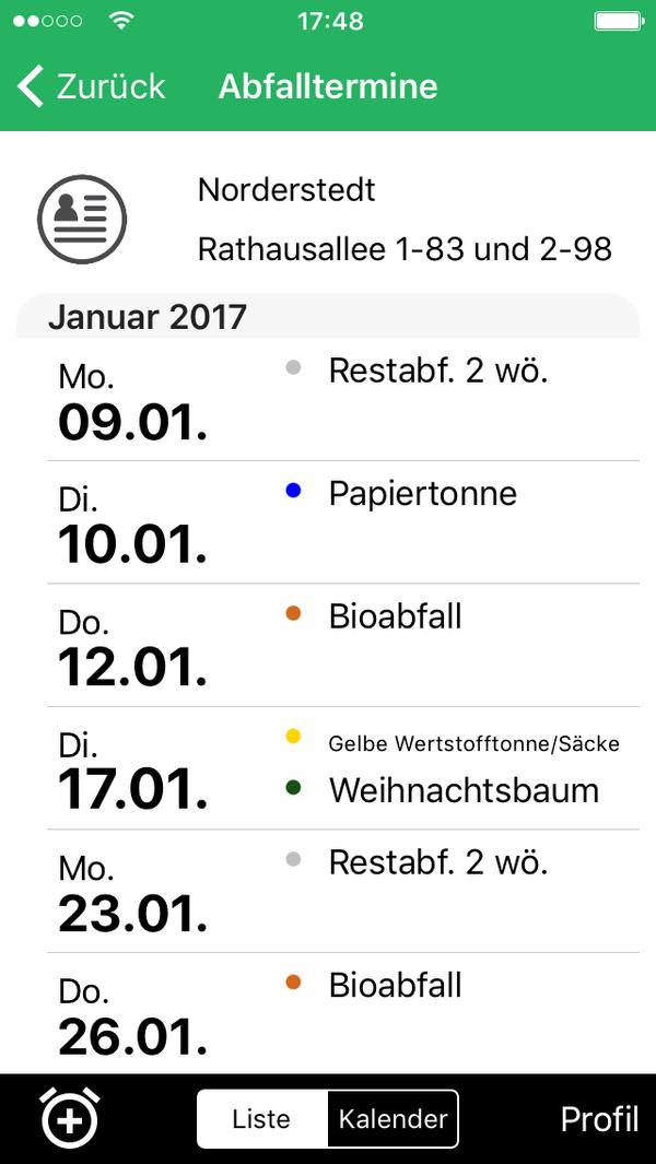 Abfall App Norderstedt termine